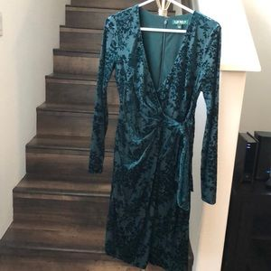 Ralph Lauren Velvet Green Midi Long Sleeve Dress